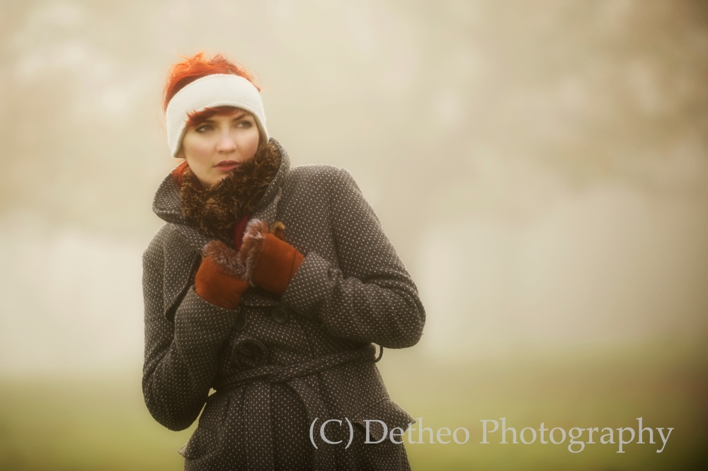 The beautiful Jennifer Dickinson on the foggy West Wood, Beverley.