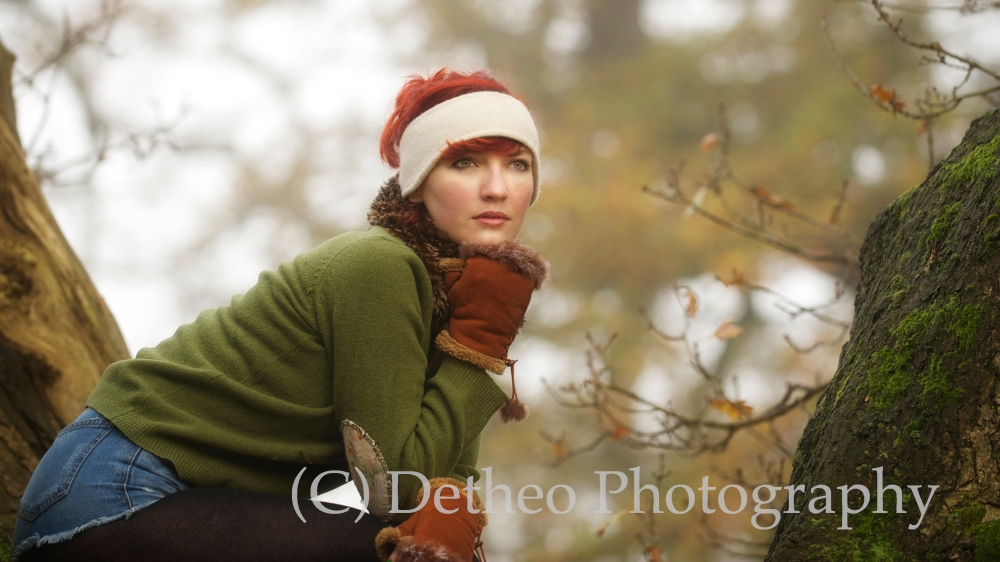 Model Jennifer Dickinson on the foggy West Wood, Beverley.