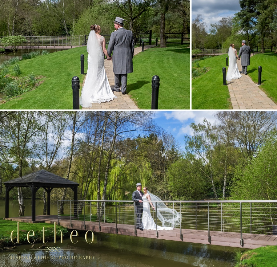 Bride and Goorm photographs at wedding venue the Great Hallingbury Manor Hotel. Mother of the bride and bridesmaid helping the bride with her wedding dress and veil. Bridal Preparations photographed by Wedding Photographer, Detheo Photography