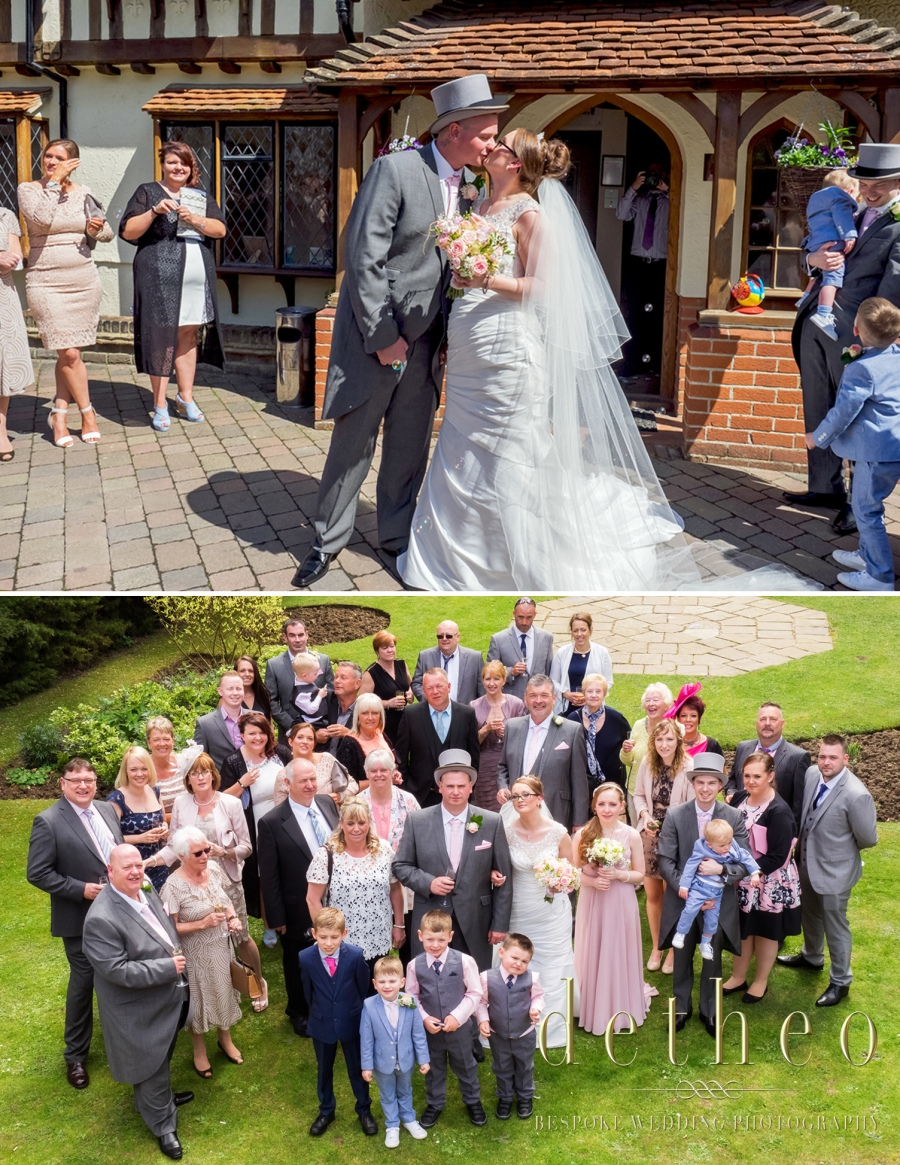 Wedding Ceremony and confetti throwing at wedding venue the Great Hallingbury Manor Hotel. Mother of the bride and bridesmaid helping the bride with her wedding dress and veil. Bridal Preparations photographed by Wedding Photographer, Detheo Photography