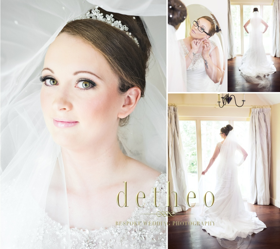 Bride getting ready at the Great Hallingbury Manor Hotel. Mother of the bride and bridesmaid helping the bride with her wedding dress and veil. Bridal Preparations photographed by Wedding Photographer, Detheo Photography