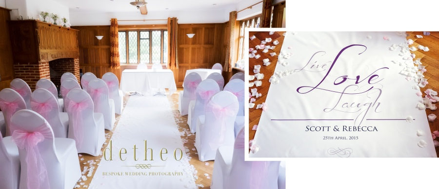 Ceremony room dressed beautifully at wedding venue the Great Hallingbury Manor Hotel. Mother of the bride and bridesmaid helping the bride with her wedding dress and veil. Bridal Preparations photographed by Wedding Photographer, Detheo Photography