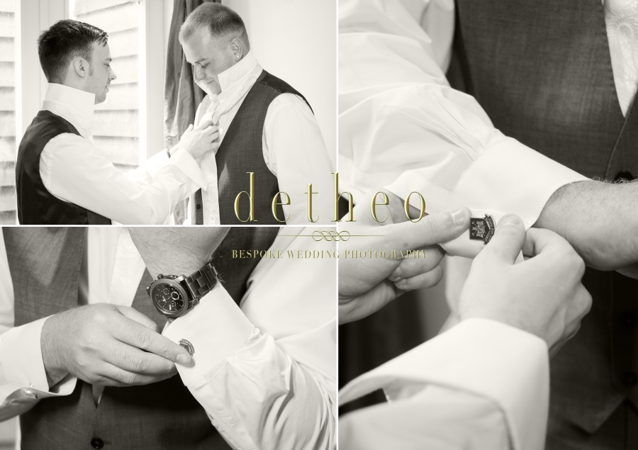 Groom and Best man getting ready, doing up the shirts, waistcoats, gravat and cufflinks .Groom Preparations and accessories at the Great Hallingbury Manor Hotel. Photographed by Wedding Photographer, Detheo Photography